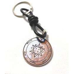 Llavero medalla estrella de Jupiter 30mm montado en piel y anilla de acero