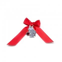 Colgante angel de la guarda 18 mm con cristal rojo de plata de ley