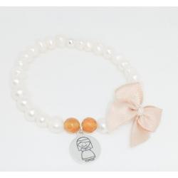 Pulsera elástica perlas cultivadas y medalla comunión plata de ley lazo rosa