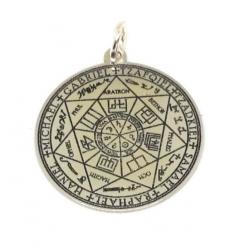Colgante sello siete arcangeles y clavicula de salomón 24mm plata de ley