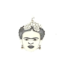 Colgante silueta Frida Kalho 27 mm plata de ley