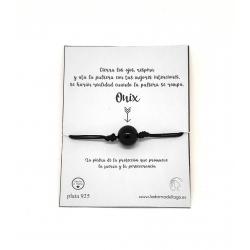 Pulsera/tobillera deseos una bola de Onix 10 mm ajustable