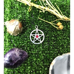 Colgante pentagrama 20mm con cristal swarovski rojo plata de ley