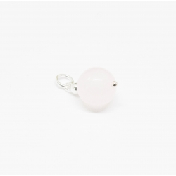 Colgante cuarzo rosa 10mm engarzado en plata de ley