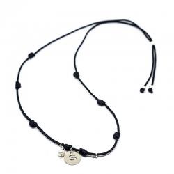 Collar con inicial 13 mm perla y corazón plata