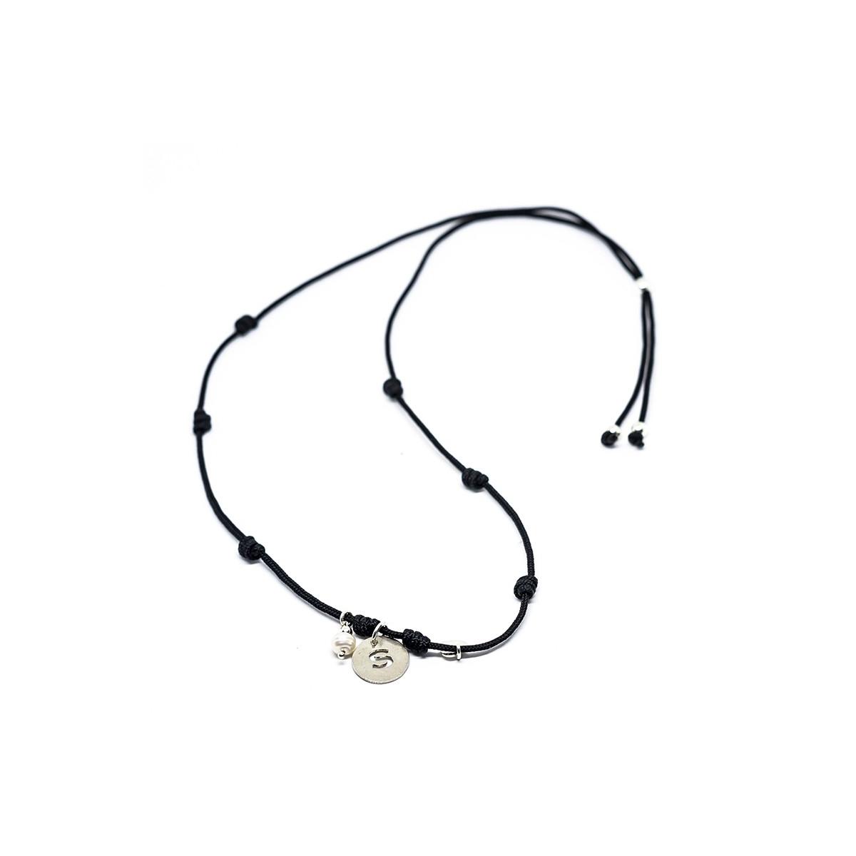 Collar con inicial 12 mm perla y corazón plata