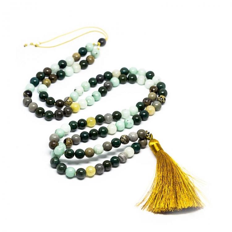 Mala tibetano 108 bolas de agata 8 mm y plata de ley