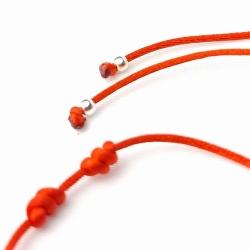 Pulsera Kabbalah roja siete nudos coral y plata de ley 925