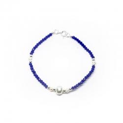 Pulsera Perla 18 cm con swarovski azul y plata 925