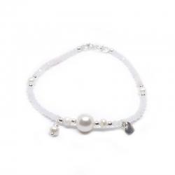 Pulsera novia de cristal de swarovski blanco 3 mm  y plata de ley