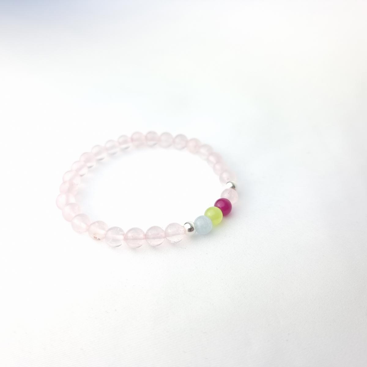 Pulsera Ho'oponopono elástica de cuarzo rosa 6 mm y plata de ley 925