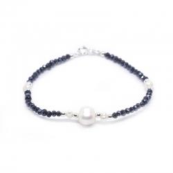 Pulsera perla cultivada con cristal swarovski hematite y plata de ley 925