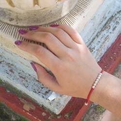 Pulsera Kabbalah roja 7 bolas de plata de ley 925 elástica y ajustable