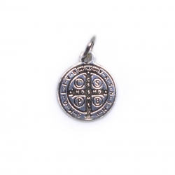 Colgante medalla San Benito 12 mm plata de ley