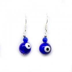 Pendientes ojo turco azul plata de ley 925
