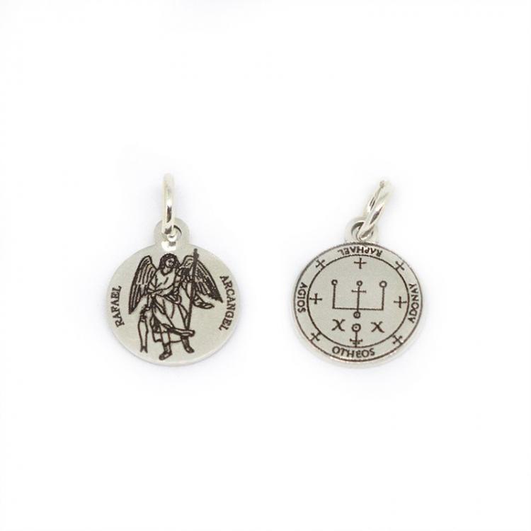 Medalla Arcángel San Rafael mas sello 12 mm plata de ley 925