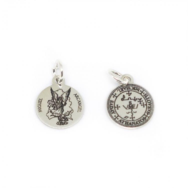 Medalla Arcángel San Miguel mas sello 12 mm plata de ley 925