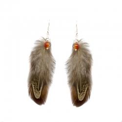 Pendiente plumas marrón con agatas y plata de ley 925