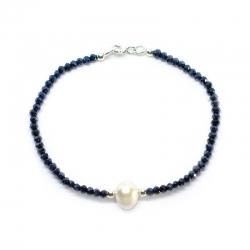 Pulsera Deluxe  de cristal swarovski hematite y perla cultivada, bolas y cierre plata de ley 925