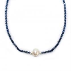 Collar Deluxe 42 cm de cristal swarovski hematites y perla con plata de ley 925