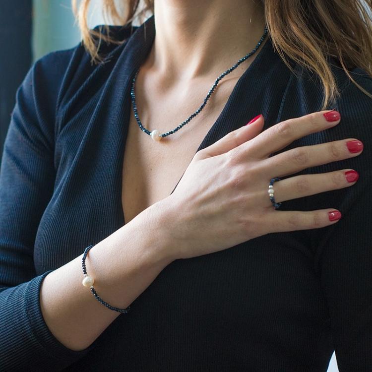 Anillo Deluxe  de cristal swarovski hematite y perla con plata de ley 925