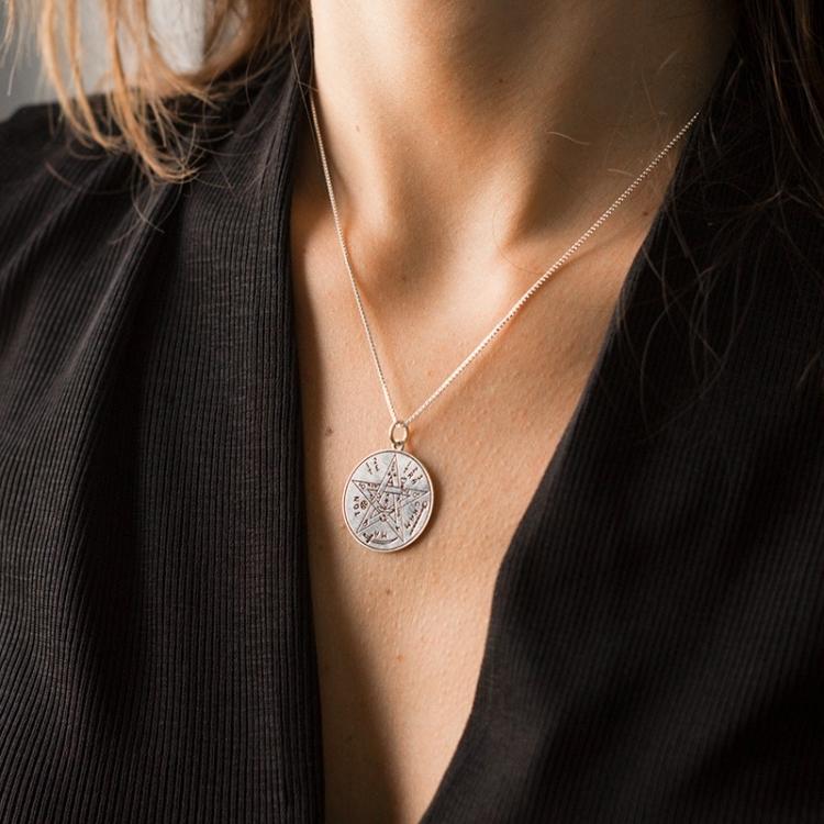 Colgante medalla tetragramatón 10 mm plata de plata de ley