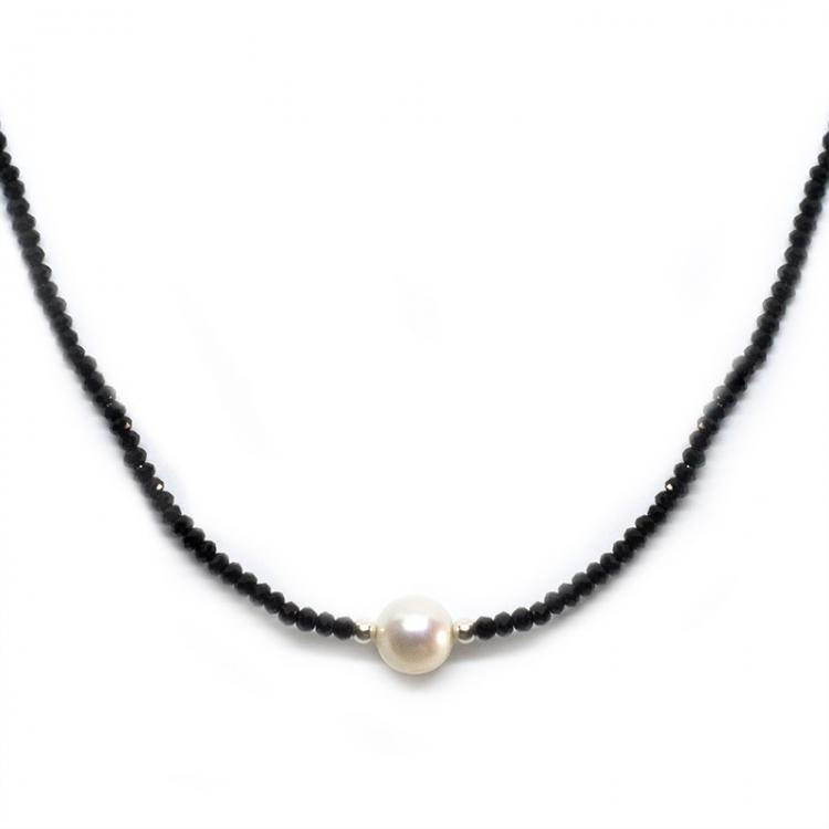 Collar deluxe cristal swarovski negro,perla cultivada y plata de ley 925