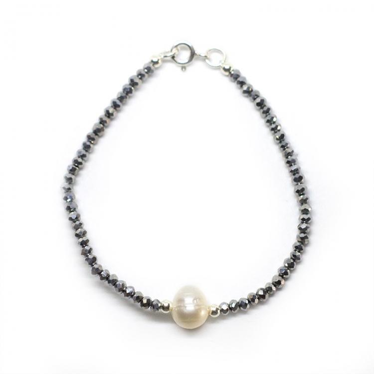 Collar deluxe cristal swarovski plateado, perla cultivada  y plata de ley 925