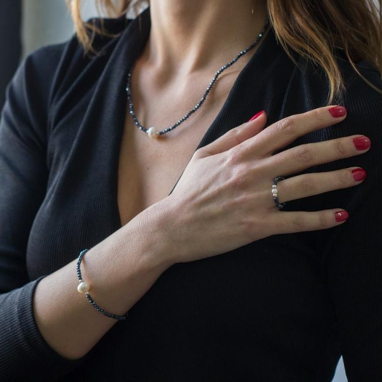 Anillo Deluxe cristal swarovski  plateado y perla cultivada  con plata de ley 925