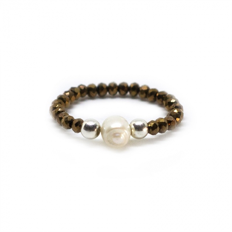 Anillo Deluxe  de cristal swarovski bronce y perla cultivada  con bolas plata de ley 925