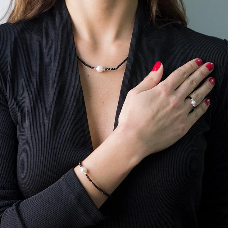 Anillo Deluxe swarovski negro y perla cultivada con bolas plata de ley 925