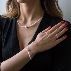 Anillo Deluxe  de cristal swarovski rosa y perla cultivada con bolas de plata de ley 925