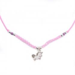 Collar unicornio swarovski 3 mm y plata de ley 925 ajustable
