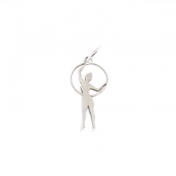 Colgante gimnasta aro 22 mm plata de ley 925