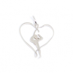 Colgante gimnasta cinta corazón 22 mm plata de ley 925