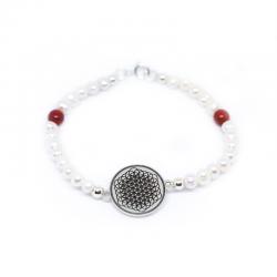 Pulsera Flor de la vida chapa 18 mm con perlas y plata de ley