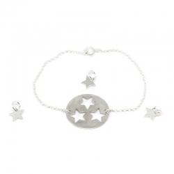 Pulsera estrellas puzzle 4 piezas plata de ley 925
