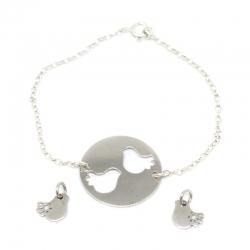 Pulsera birds 3 piezas cadena rolo en plata de ley 925