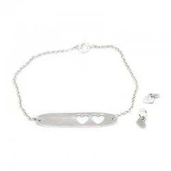 Pulsera placa corazones y dos piezas plata de ley, compartelas.
