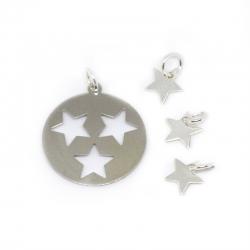 Colgante conjunto estrellas 4 piezas plata de ley 925