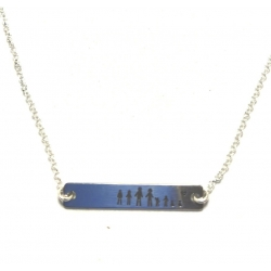 Collar Family placa de 35 x 6 mm personalizable plata de ley 925
