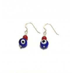 Pendientes ojo turco azul y rojo con cierre hippie plata de ley 925