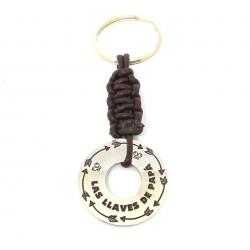 Llavero, las llaves de papa en plata de ley y cuero marrón